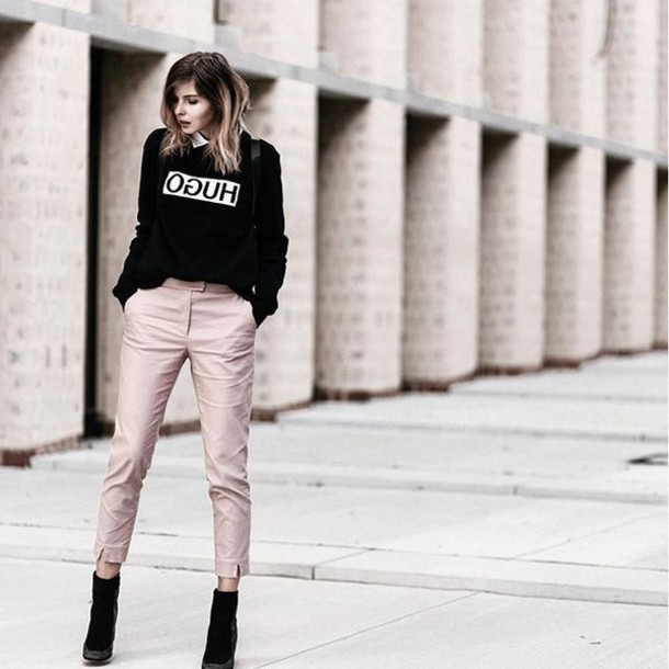 Pants tumblr top quote on it black top pink pants cropped pants boots black boots fall ...