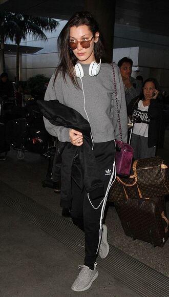 pants sweatpants sweatshirt bella hadid sneakers headphones