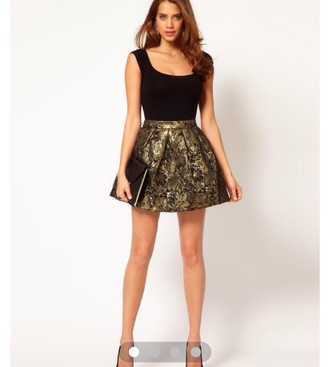 metallic skirt skater skirt