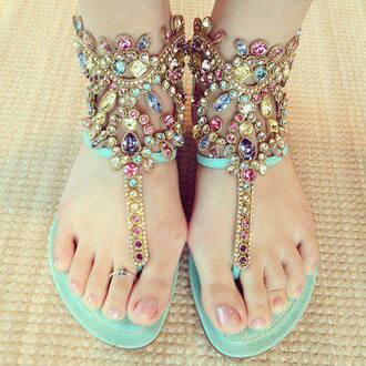 shoes sandals gemstone cute pastel flat jewelry sparkle flats summer bling shoes teal blingy sandals jewels cute dress girly mint jewls bling sandals summer shoes kardashion fashion