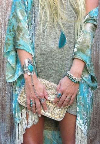 cardigan kimono blue green summer festival jewels boho hippie jewelry ring turquoise