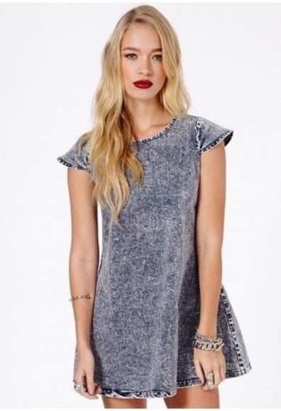 dress blue denim acid wash dress