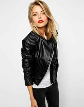 ASOS | ASOS Leather Assyemtric Mixed Quilted Biker at ASOS