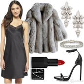 fashion addict,blogger,make-up,earrings,nightie,sandals,faux fur,red lipstick,dress,shoes,jewels,coat,slip satin dress