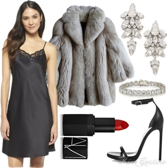 fashion addict blogger make-up earrings nightie sandals faux fur red lipstick dress shoes jewels coat slip satin dress