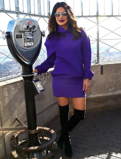 a45a3f22a9 dress sweater sweater dress purple priyanka chopra mini dress fall outfits  fall dress boots