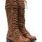 Double buckle faux leather boots cognac brown black - gojane.com