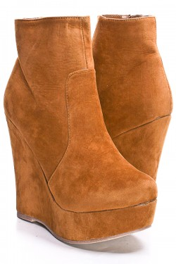 FAUX SUEDE ZIP UP PLATFORM WEDGE BOOTIES,Booties,Ankle Boots ...