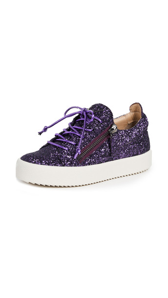 glitter zip sneakers purple shoes