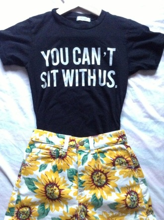 t-shirt top tumblr shorts denim highwaisted youcantsitwithus floral black white sunflower summer outfit flowers pants