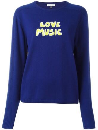 jumper women love music blue wool sweater