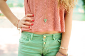 t-shirt,green,pink,lovely,clothes,shorts,blouse,necklace,bracelets,pants,shirt,green shorts,jewels,triangle,jewerly,melon,mint,pretty,crop tank,coral,pink top,teal shorts,top,pastel,lace pink light pink short tank top,lace,lace skirt,shoes,style,black dress,blue dress,fashion,bag,cut out crop top,crop tops,tank top,cute