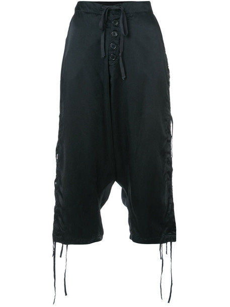 Greg Lauren cropped women embellished black silk pants