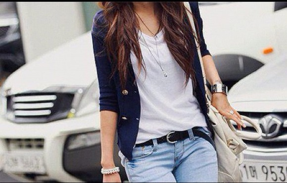 white shirt coat black belt, cute navy blue goldbuttons