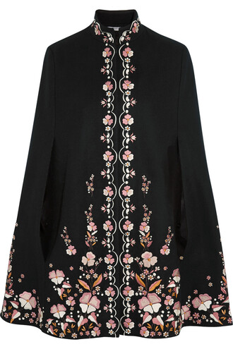 cape embroidered wool black top