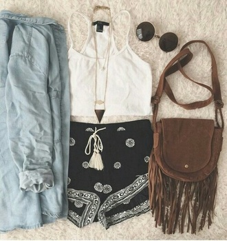 shorts style fashion grunge boho chic boho vintage hippie sunglasses top jacket jewels bag comfy bandana bandana shorts pattern tumblr boho shorts blue summer bandanna black white indie brown tassel bag long bag pants short sun tank top blouse