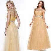 dress,floor length dress,prom gown,gold prom dress,mesh dress,halter dress,discountdressshop