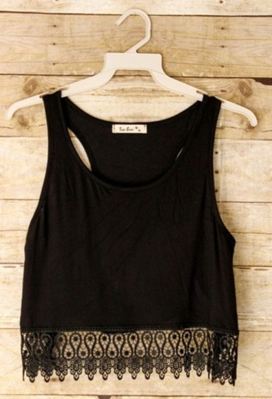 black tank top blouse tanktop short, lace bottom crochet crop top