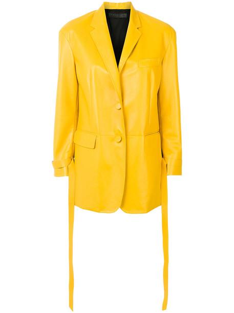 blazer women spandex leather yellow orange jacket