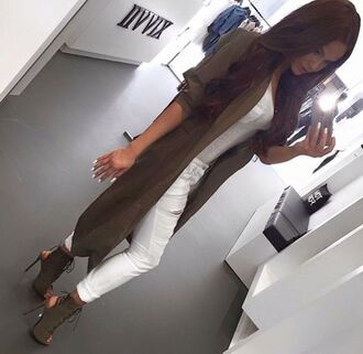 cardigan long cardigan khaki army green high heels white top white ripped jeans