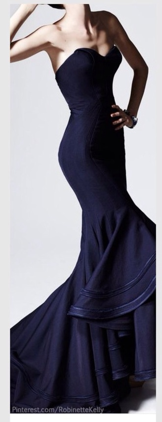 dress pretty navy dress prom dress