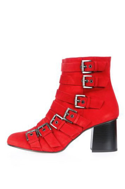e56f13d5674 TopShop MAGNESIUM Buckle Boots - Red - Wheretoget