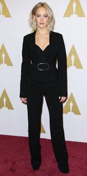 pants,bustier,bustier top,jennifer lawrence,all black everything,jacket,blazer,suit