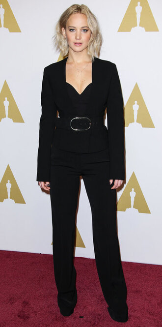 pants bustier bustier top jennifer lawrence all black everything jacket blazer suit