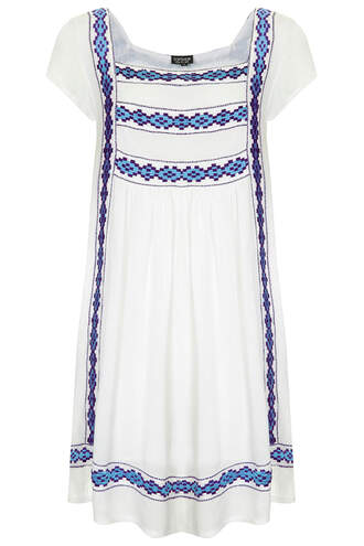 embroidered crinkle smock dress topshop dress