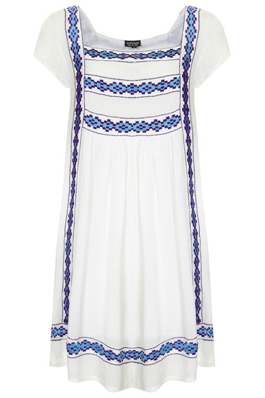 topshop embroidered crinkle smock dress
