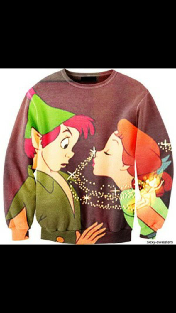 sweater sweater peter pan warm kiss tinkerbell disney disney disney sweater cute disney disney