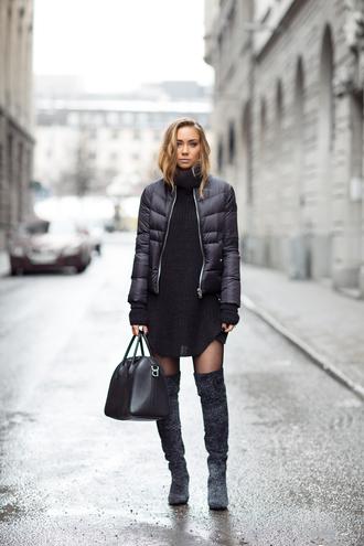 jacket black dress black puffer jacket over knee boots blogger