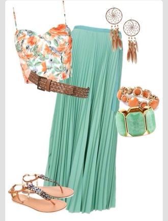 blouse summer summer outfits crop tops floral tank top floral teal green dreamcatcher woven belt flat sandals skirt top jewels shoes belt