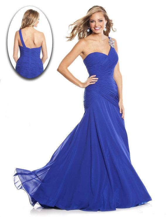 Simple elegant mermaid one shoulder long party dress by bridesmall
