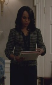 jacket,check,tweed,olivia pope,black and white,zip front,kerry washington,scandal,top
