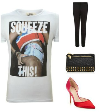 t-shirt red sexy hot pants model grunge rock shoes black jeans studs clutch