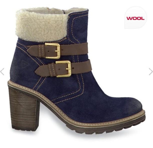 Tamaris Shoes Blue Shoes Blue Wool Tamaris