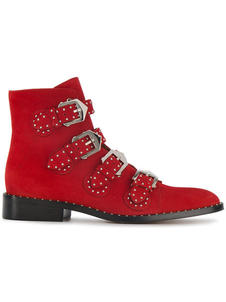 Givenchy suede ankle boots studded women elegant ankle boots leather suede red shoes