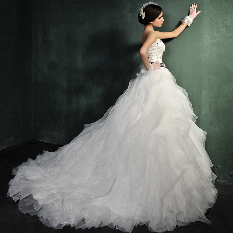 Ball Gown Strapless Train 1980s Vintage Wedding Dresses