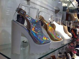 shoes hipster silver gold holographic heels grunge white pastel goth gothic lolita pastel goth goth hipster gothic lolita goth shoes gothic boots street goth grunge boots kawaii grunge soft grunge platform shoes