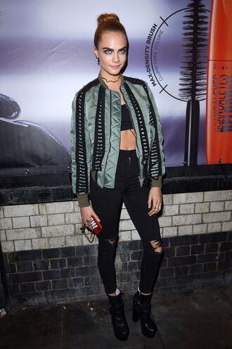 jacket jeans ankle boots model off-duty crop tops bomber jacket top cara delevingne
