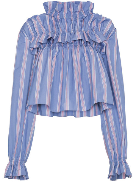 blouse high women high neck cotton blue top