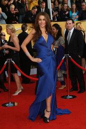 dress,long blue dress,sofia vergara
