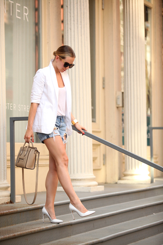 brooklyn blonde blogger white heels handbag celine bag ripped shorts white blazer classy