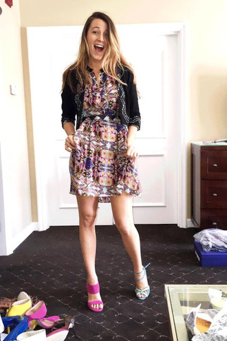 dress spring outfits blake lively mini dress instagram jacket sandals shoes