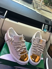 shoes,gold pumas,puma,sneakers,gold,cute,puma sneakers,puma x rihanna,need