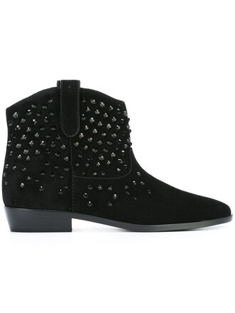 western boots studded women plastic boots leather suede black shoes