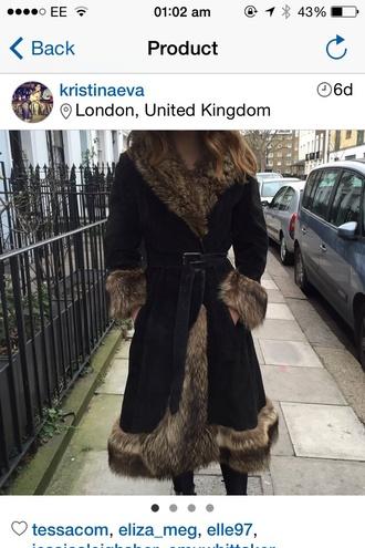 coat vintage coat retro velvet coat fur coat swing