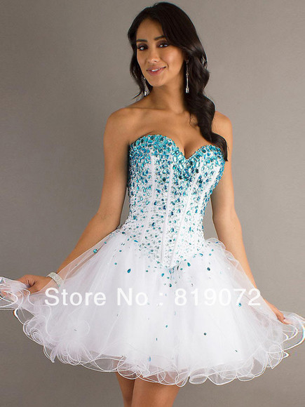 white dress a-line organza short dress prom dress party dress lace-up homecoming dresses beaded homecoming dress formal dresses cute dress lovely