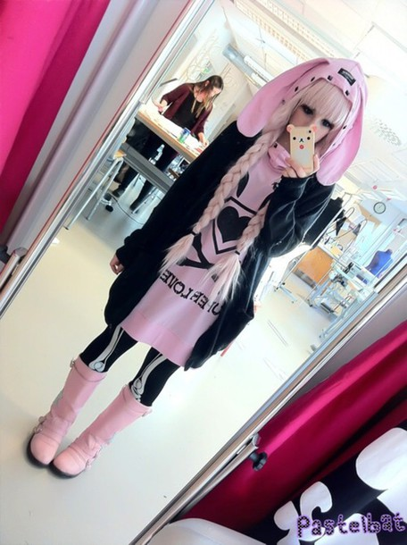 coat this one exact shirt dress bunny ears pink printed sweater black bunny ears hoodie heart hoodie pastel goth pastel pastelbat kawaii dark kawaii dress cute